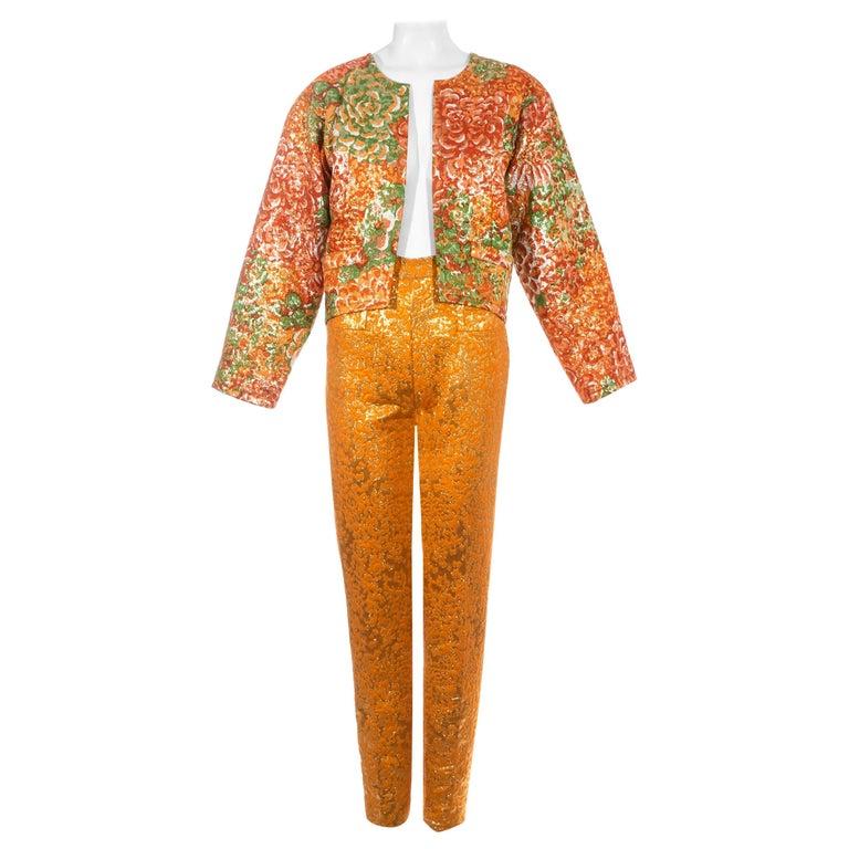 Yves Saint Laurent orange metallic floral brocade evening pant suit, fw 1989 For Sale