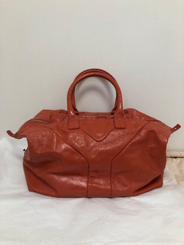 Women's Yves Saint Laurent Orange Patent Leather Easy Y Bag For Sale