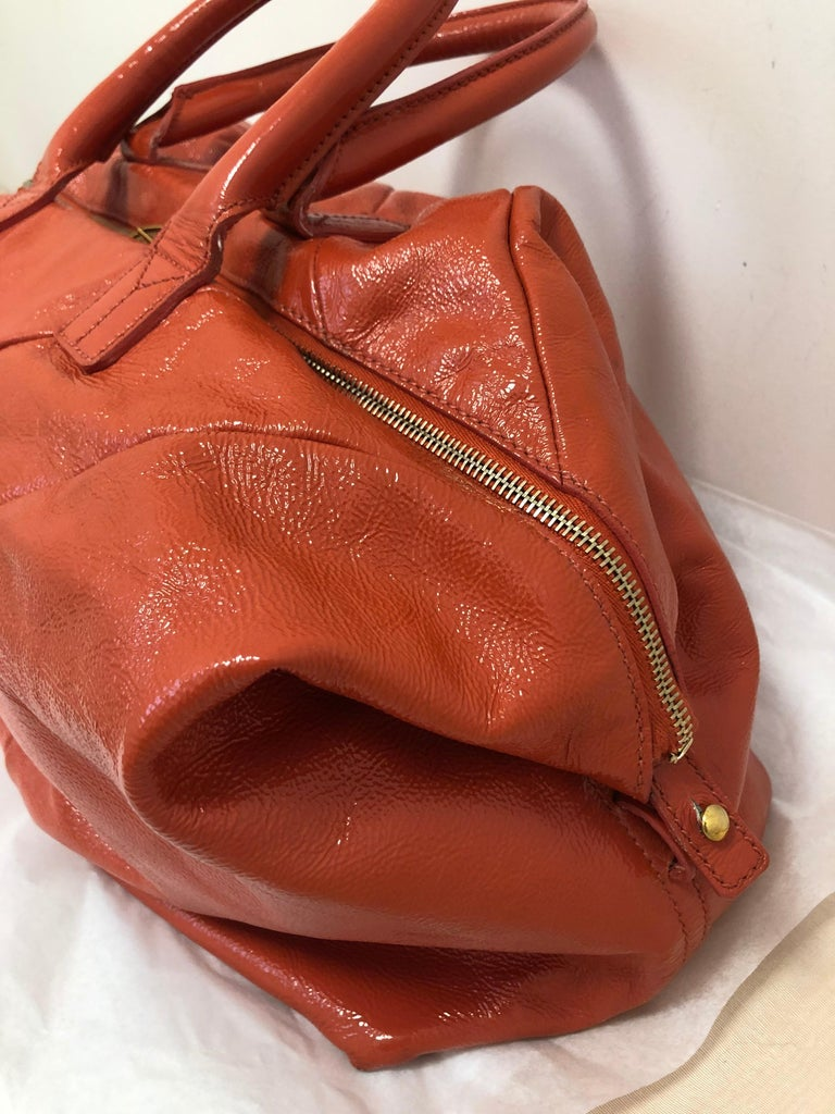 Yves Saint Laurent Orange Patent Leather Easy Y Bag For Sale 1