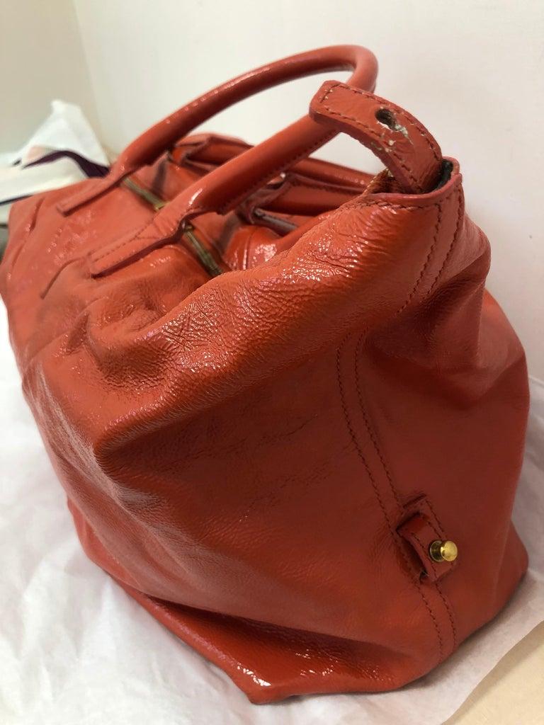 Yves Saint Laurent Orange Patent Leather Easy Y Bag For Sale 2