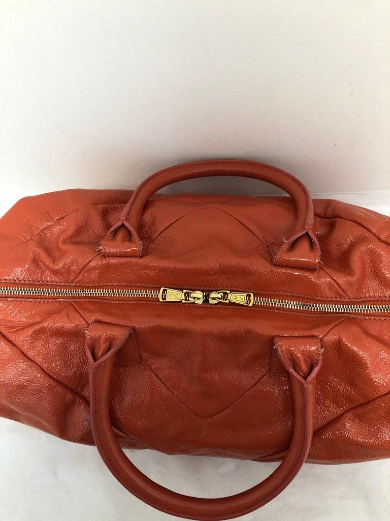 Yves Saint Laurent Orange Patent Leather Easy Y Bag For Sale 3