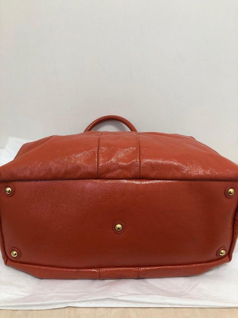 Yves Saint Laurent Orange Patent Leather Easy Y Bag For Sale 4