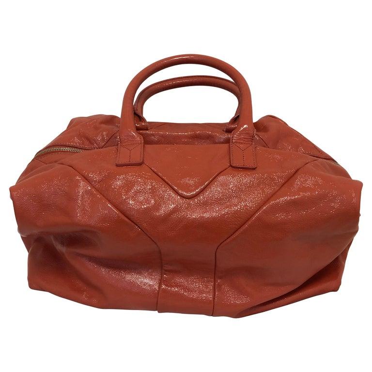 Yves Saint Laurent Orange Patent Leather Easy Y Bag For Sale
