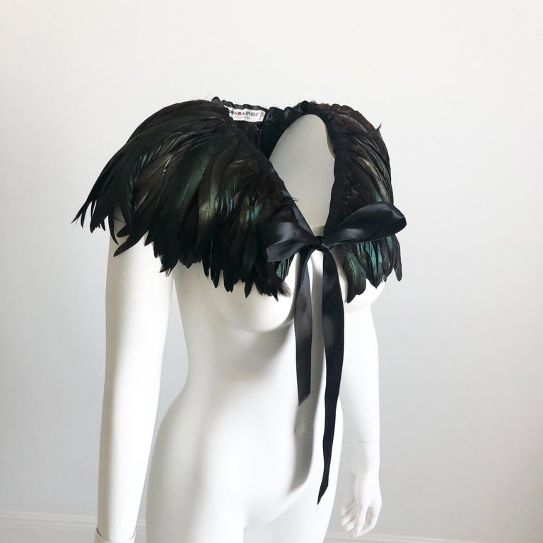 Black Yves Saint Laurent Oversized Feather Collar Evening Cape 1970s