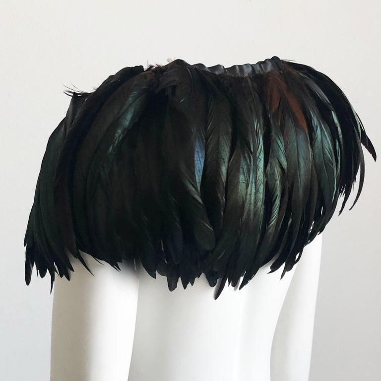 Yves Saint Laurent Oversized Feather Collar Evening Cape 1970s In Good Condition In Port Saint Lucie, FL