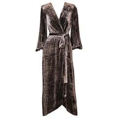 Yves Saint Laurent Panné Velvet Long Wrap Dress
