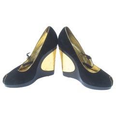Yves Saint Laurent Paris Black Suede Gold Leather Peep Toe Wedge Shoes Size 40