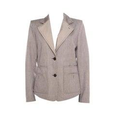 Yves Saint Laurent Paris Brown and White Textured Cotton Contrast Lapel Blazer L