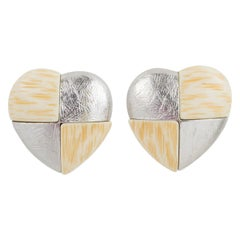 Yves Saint Laurent Paris Clip Earrings Silver and Resin Heart