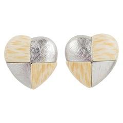 Yves Saint Laurent Paris Clip Earrings Silver and Resin Heart