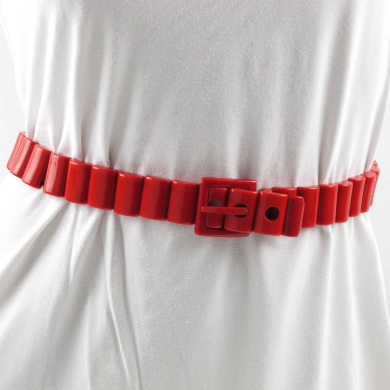 Women's Yves Saint Laurent Paris Space Age Stretch Red Resin Waist Belt For Sale