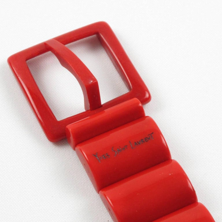 Yves Saint Laurent Paris Space Age Stretch Red Resin Waist Belt For Sale 2