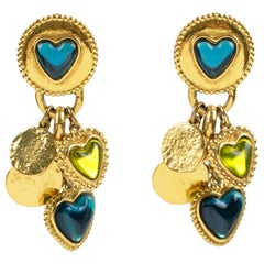 Yves Saint Laurent Paris Gilt Metal Clip Earrings Green Blue Dangle Heart Charms