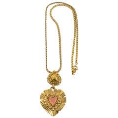 Yves Saint Laurent Paris Gilt Metal Heart Pendant Necklace