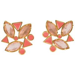 Yves Saint Laurent Paris Pierced Earrings Gilt Metal Pink Salmon Rhinestones
