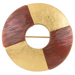 Yves Saint Laurent Paris Pin Brooch Gilt Metal and Resin Donut