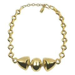Yves Saint Laurent Paris Signed Geometric Gilt Metal Link Choker Necklace