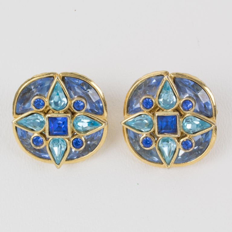 Yves Saint Laurent Paris Signed Jeweled Clip-on Earrings Floral Blue Rhinestones In Excellent Condition For Sale In Atlanta, GA