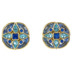 Yves Saint Laurent Paris Blue Jeweled Clip Earrings