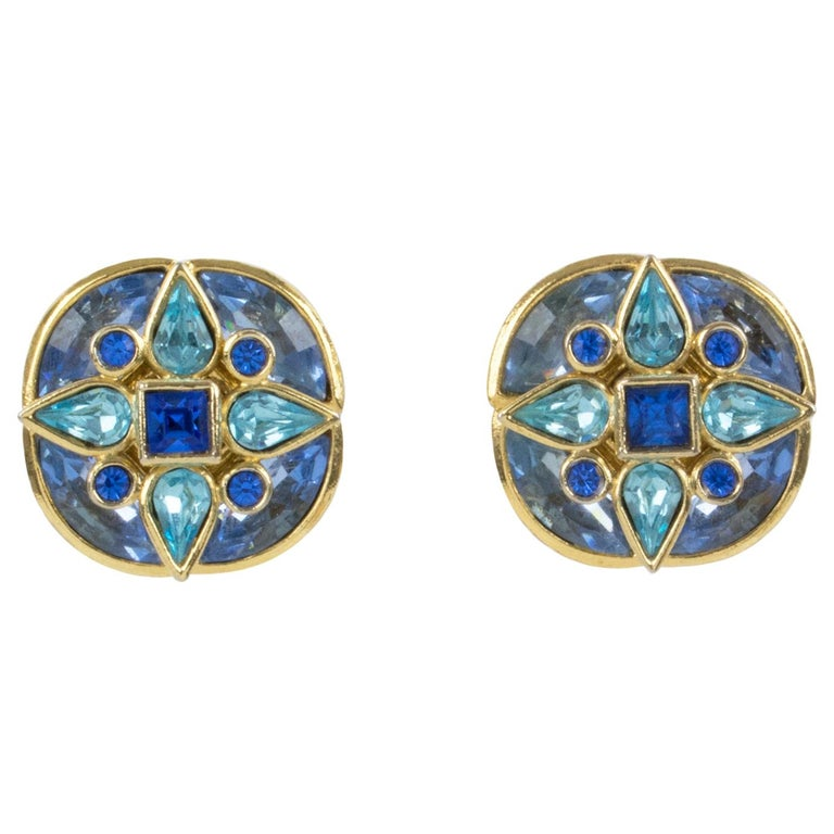 Yves Saint Laurent Paris Signed Jeweled Clip-on Earrings Floral Blue Rhinestones For Sale