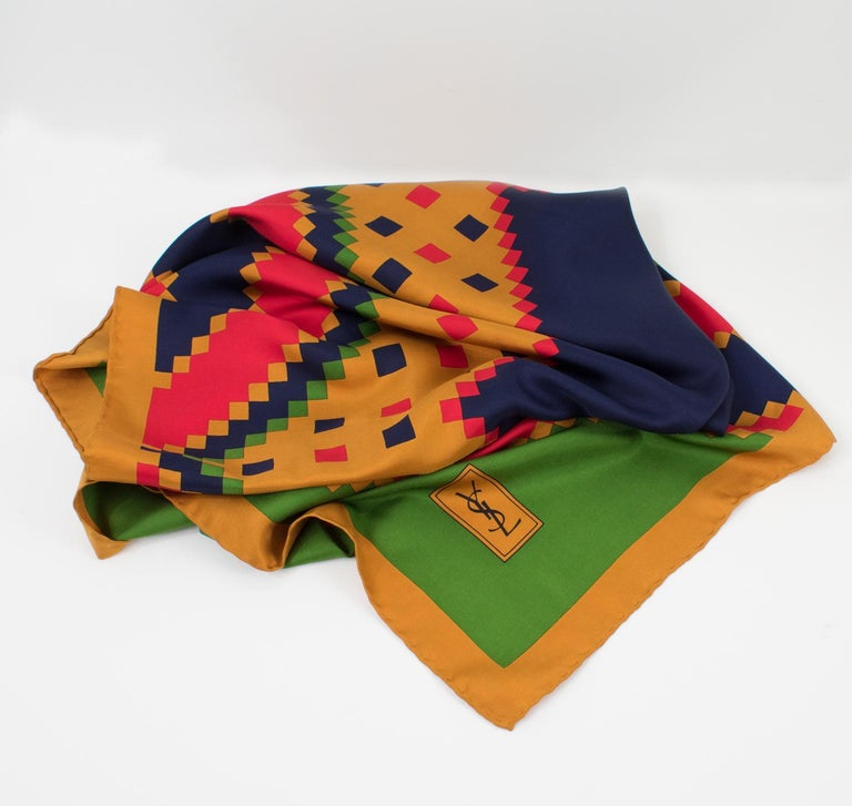Brown Yves Saint Laurent Paris Silk Scarf Geometric Print in Blue Red Green For Sale