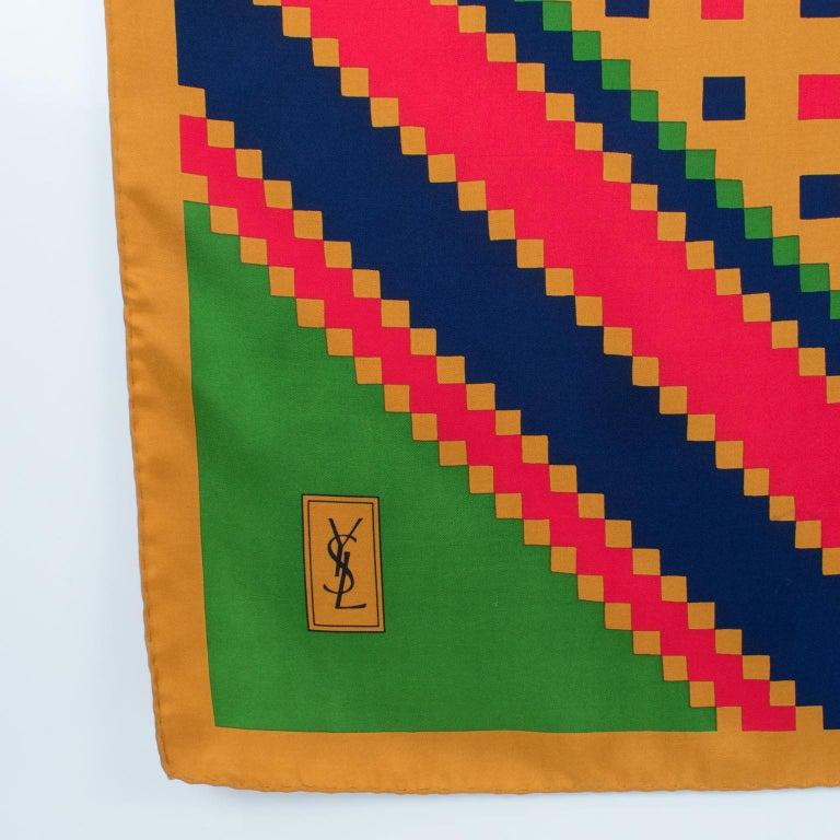 Yves Saint Laurent Paris Silk Scarf Geometric Print in Blue Red Green In Good Condition For Sale In Atlanta, GA