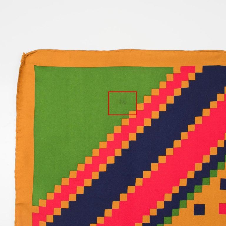 Women's Yves Saint Laurent Paris Silk Scarf Geometric Print in Blue Red Green For Sale