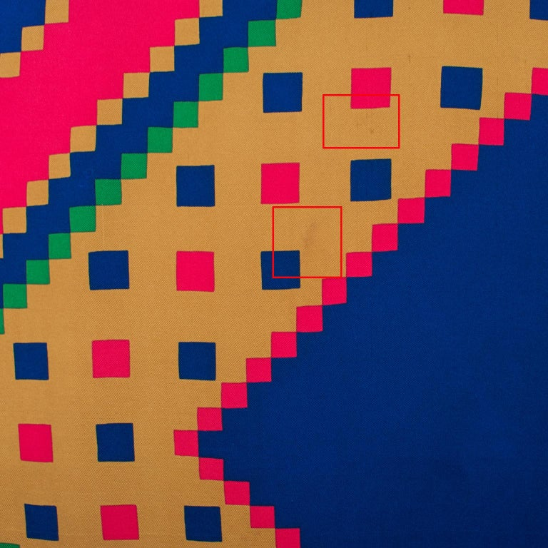 Yves Saint Laurent Paris Silk Scarf Geometric Print in Blue Red Green For Sale 1