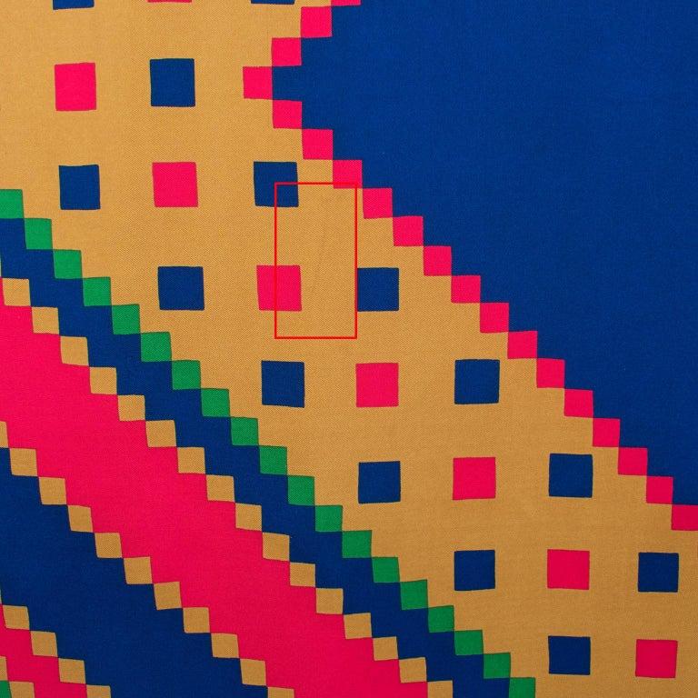 Yves Saint Laurent Paris Silk Scarf Geometric Print in Blue Red Green For Sale 2