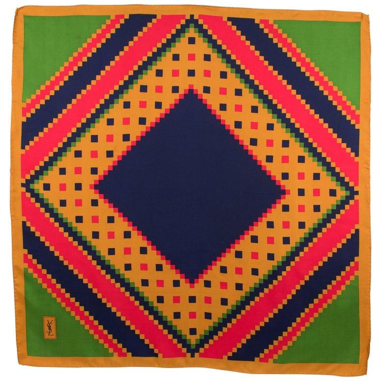 Yves Saint Laurent Paris Silk Scarf Geometric Print in Blue Red Green For Sale
