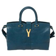 Yves Saint Laurent Paris Teal Blue Leather Large Y Cabas Chyc Tote