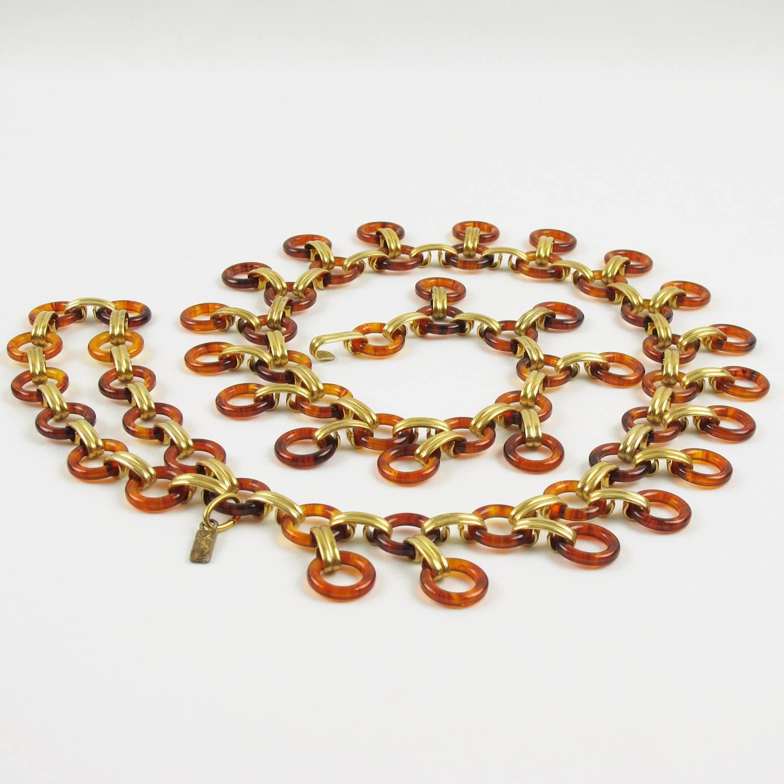 Saint Laurent Paris Tortoise Lucite Brass Necklace Waist / Hip Belt nObSc0m