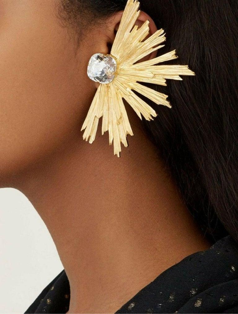 Modernist YVES SAINT LAURENT PARIS YSL Burst Crystal Clip Earrings For Sale