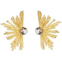 YVES SAINT LAURENT PARIS YSL Burst Crystal Clip Earrings