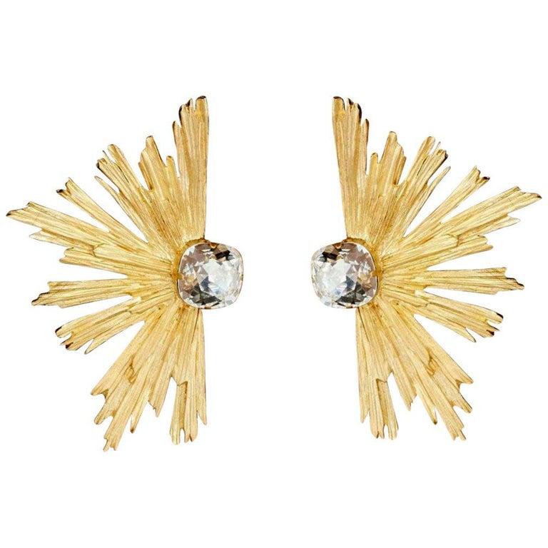 YVES SAINT LAURENT PARIS YSL Burst Crystal Clip Earrings For Sale