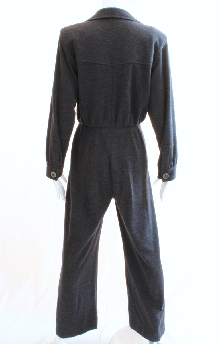 Yves Saint Laurent YSL Rive Gauche Gray Wool Patch Pocket Jumpsuit, 1990s  In Good Condition For Sale In Port Saint Lucie, FL