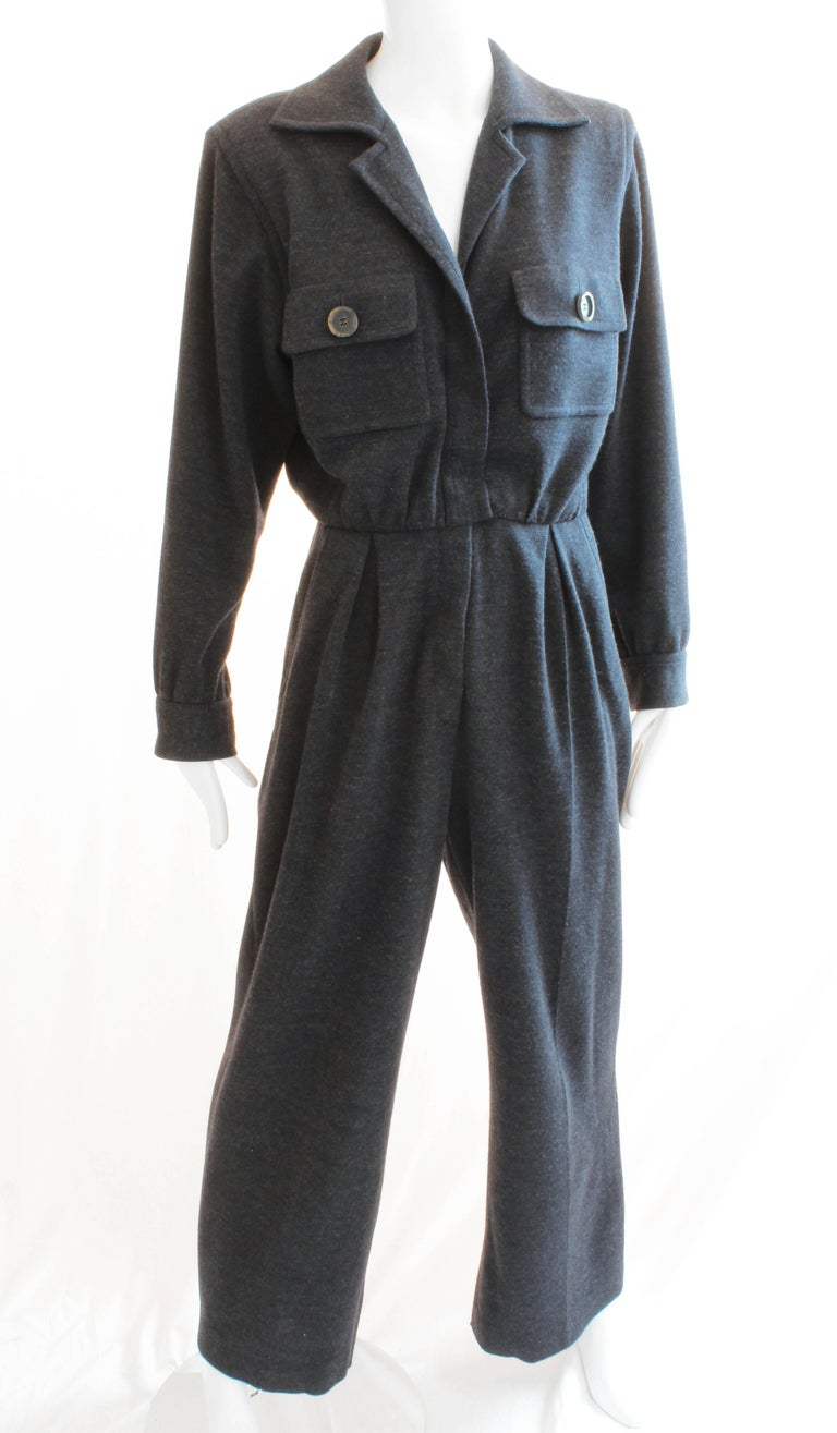 Women's Yves Saint Laurent YSL Rive Gauche Gray Wool Patch Pocket Jumpsuit, 1990s  For Sale