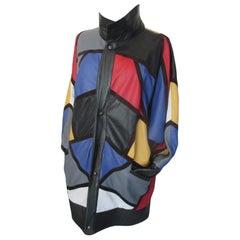 Yves Saint Laurent Piet Mondrian Art Leather Coat