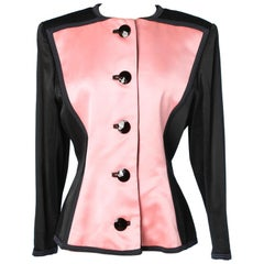 Yves Saint Laurent pink and black satin jacket 1988
