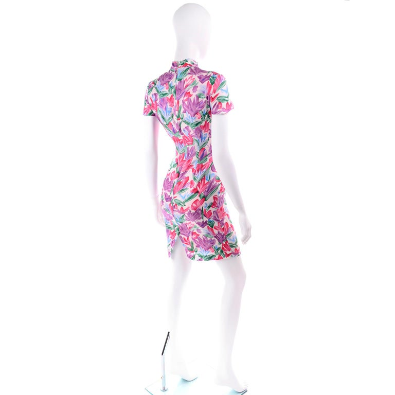 Yves Saint Laurent Pink Blue and Purple Silk Tulip Print YSL Sheath Dress  In Excellent Condition For Sale In Portland, OR