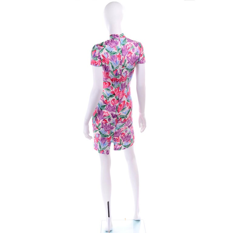 Women's Yves Saint Laurent Pink Blue and Purple Silk Tulip Print YSL Sheath Dress  For Sale