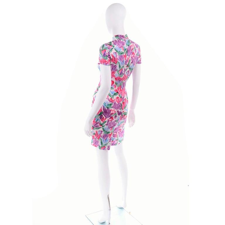 Yves Saint Laurent Pink Blue and Purple Silk Tulip Print YSL Sheath Dress  For Sale 1