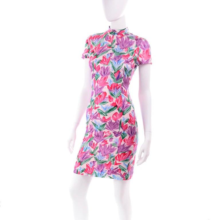 Yves Saint Laurent Pink Blue and Purple Silk Tulip Print YSL Sheath Dress  For Sale 2