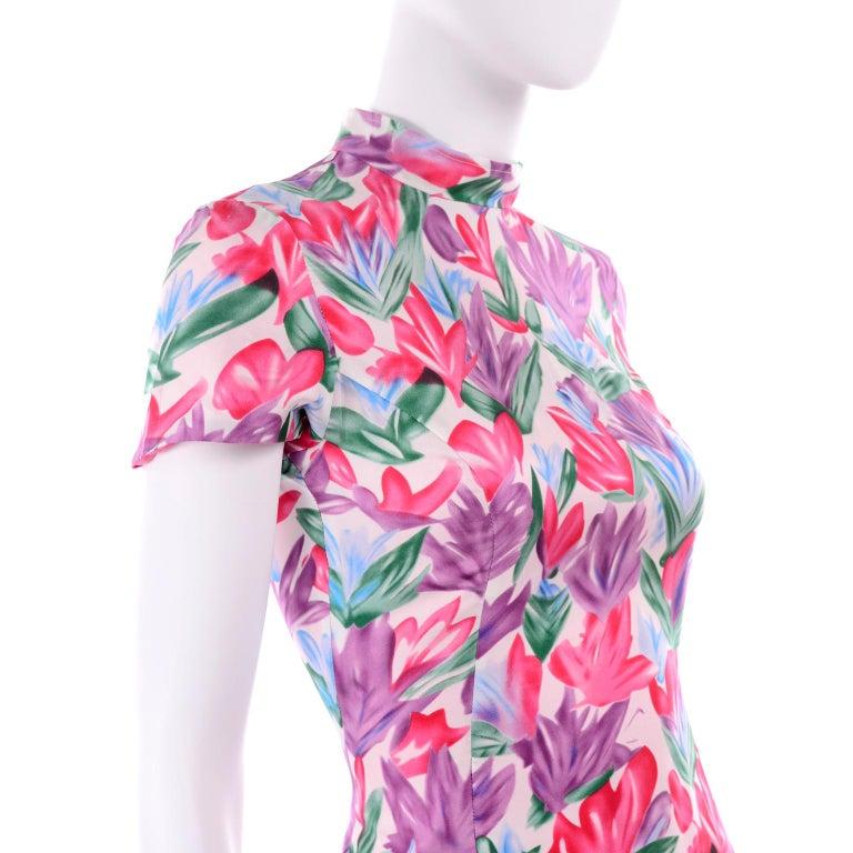 Yves Saint Laurent Pink Blue and Purple Silk Tulip Print YSL Sheath Dress  For Sale 3