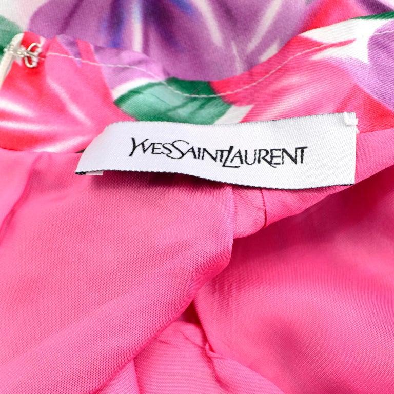 Yves Saint Laurent Pink Blue and Purple Silk Tulip Print YSL Sheath Dress  For Sale 5