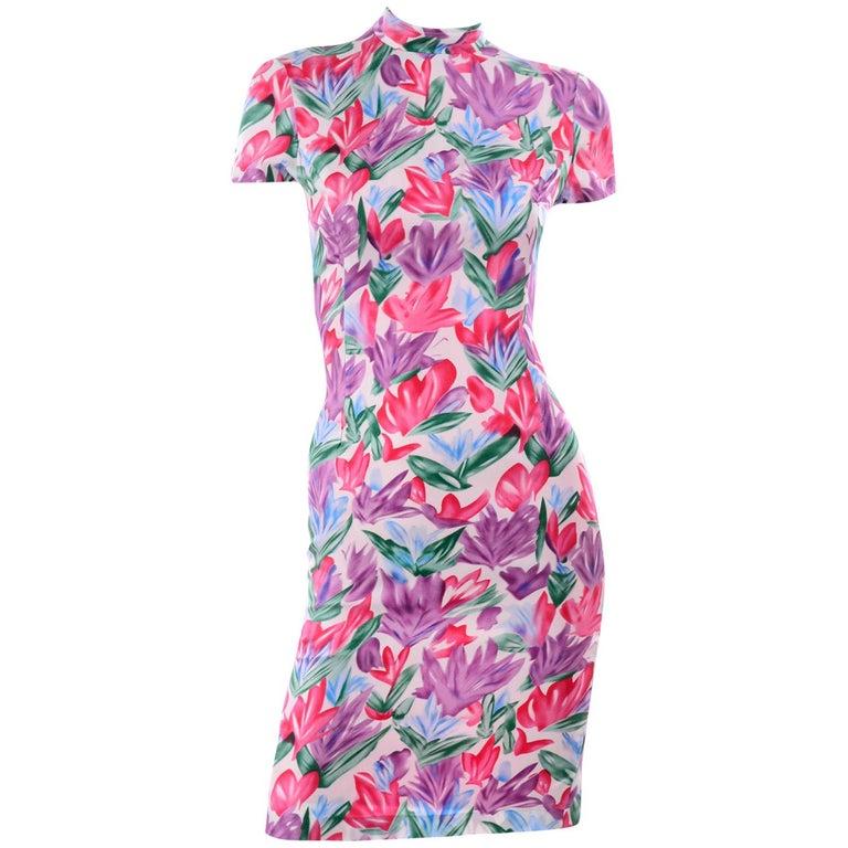 Yves Saint Laurent Pink Blue and Purple Silk Tulip Print YSL Sheath Dress  For Sale