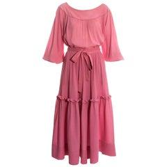 Yves Saint Laurent pink crinkled silk blouse and skirt set, c. 1970s