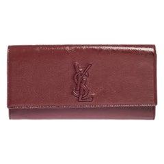 Yves Saint Laurent Pink Patent Leather Small Belle De Jour Flap Clutch