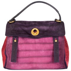 YVES SAINT LAURENT pink purple red FAUX CROCO suede MUSE TWO Satchel Bag