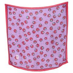 Yves Saint Laurent Pink Purple Silk Polka Dot Scarf